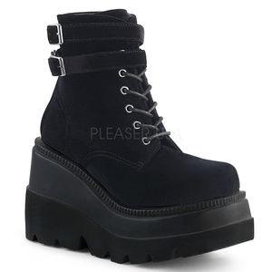 """4 1/2"""" Wedge Platform Lace-Up Velvet Ankle Boots"""